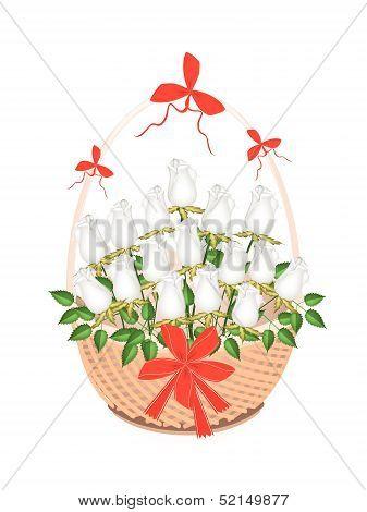 Brown Basket Of Lovely White Roses