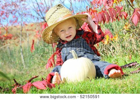 Cute Baby Country Boy In Autumn