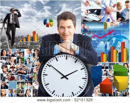 Business collage background. Businessman spying competitors with binoculars.