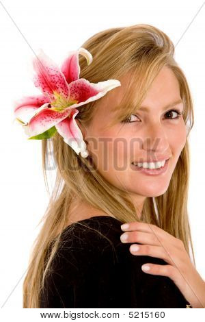 Casual Girl With A Flower