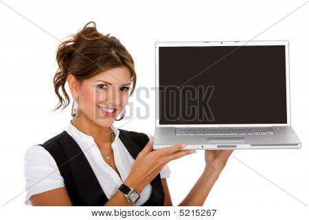 Young Business Woman With A Laptop