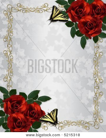 Red Roses Butterflies Border Wedding Invitation Stock photo