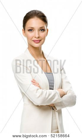 Half-length portrait of business woman with hands crossed, isolated on a white. Concept of leadership and success