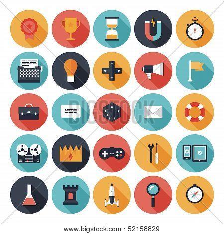 Game Design flache Icons Set