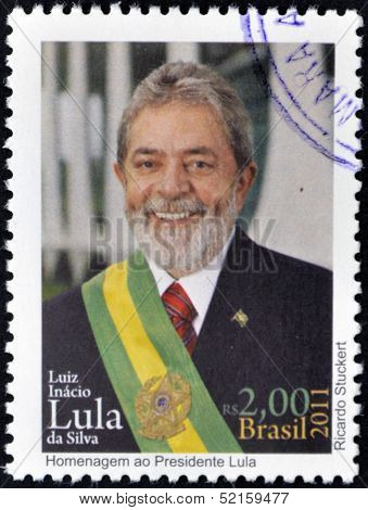 Brazil - Circa 2011: A Stamp Printed In Brazil Shows Lula Da Silva, Circa 2011