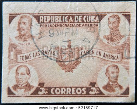 A stamp printed in cuba dedicated to democracy in america shows Maceo Bolivar Juarez and Lincoln