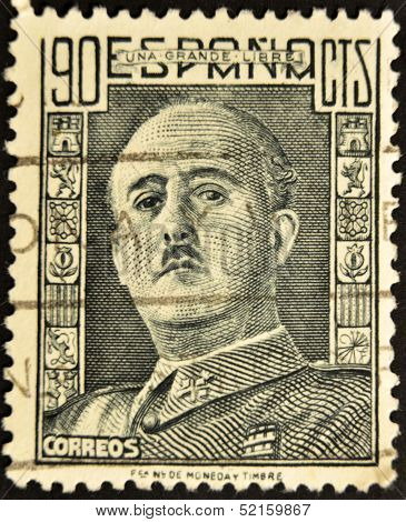 Spain - Circa 1949: A Stamp Printed In Spain Shows Francisco Franco, Circa 1949