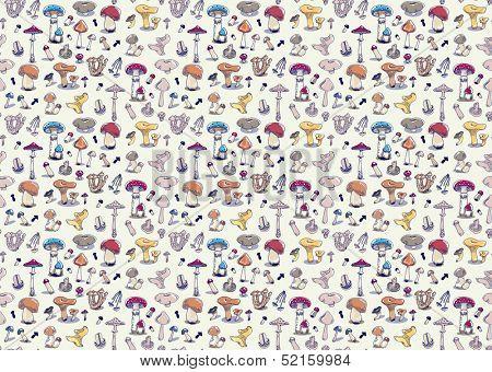 Fungus seamless pattern