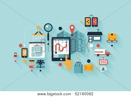 Mobile Shopping  Illustration Concept