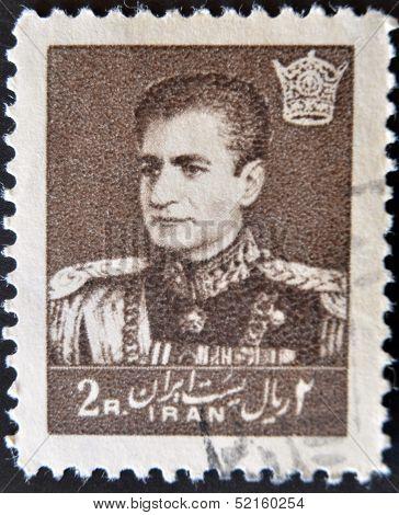 Iran - Circa 1959: A Stamp Printed In Iran Shows Mohammad Reza Pahlavi, Circa 1959