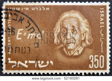 Israel - Circa 1956: A Stamp Printed In Israel Shows Albert Einstein, Circa 1956