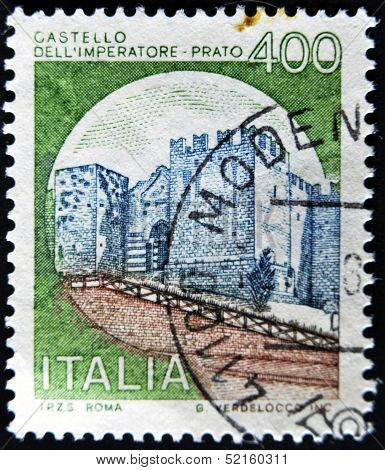 A stamp printed in Italy shows Emperor's Castle Prato Italian series of castle