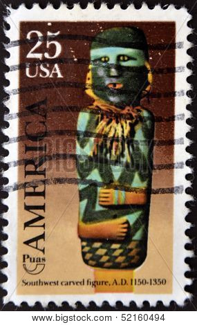United States Of  America- Circa 1989: A Stamp Printed In Usa Shows Southwest Carved Figure