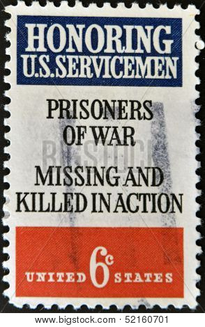 A stamp issued to honor soldiers who are prisoners of war and missing and killed action