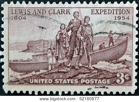 United States Of America - Circa 1954: A Stamp Printed In The Usa Shows Lewis And Clark Expedition