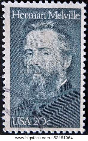 A stamp printed in the USA shows Herman Melville,  a famous writer