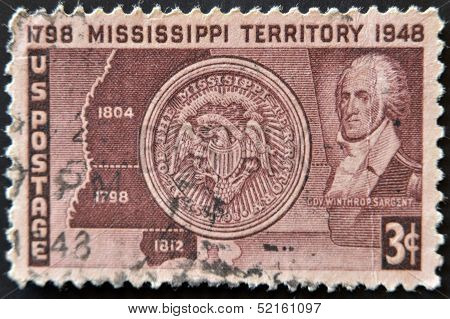 Usa - Circa 1948: A Stamp Dedicated To Mississippi Territoy Showing Winthrop Sargengt