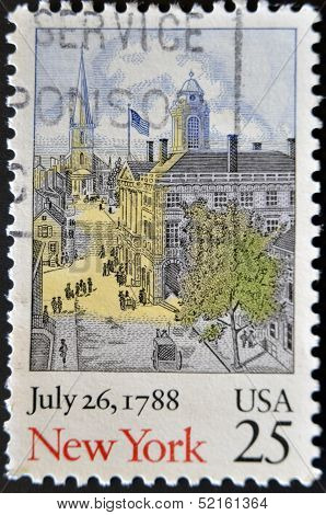 Usa - Circa 1988: A Stamp Printed In Usa Shows Image Of The Dedicated To New York , July 26, 1788