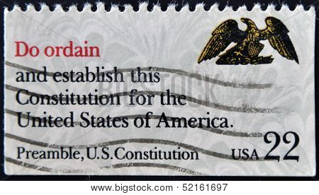 A stamp printed in USA shows image of the dedicated to the US Constitution