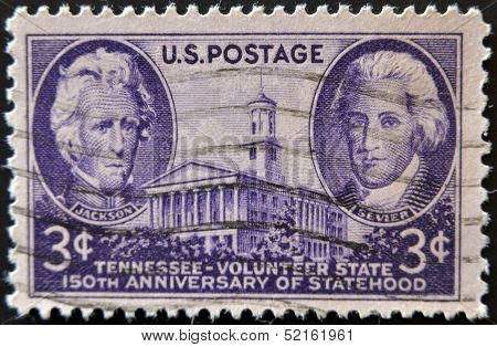 Stamp Shows The State House Of Tennessee And Andrew Jackson For Tennessee's Sesquicentennial
