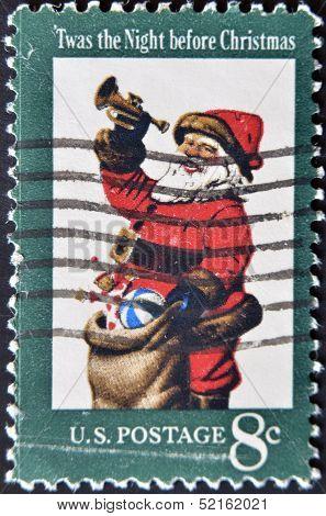 Usa - Circa 1972: The First Christmas Postage Stamp Show Santa Claus Twas The Night Before Christmas