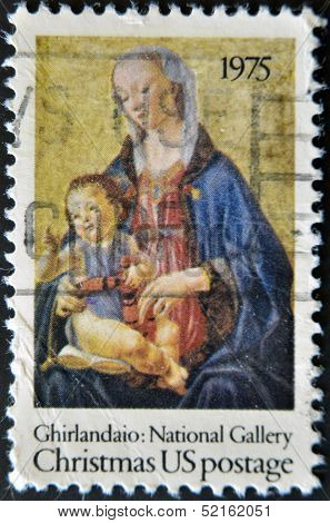 United States - Circa 1975: Stamp  Shows Madonna And The Child by Ghirlandaio