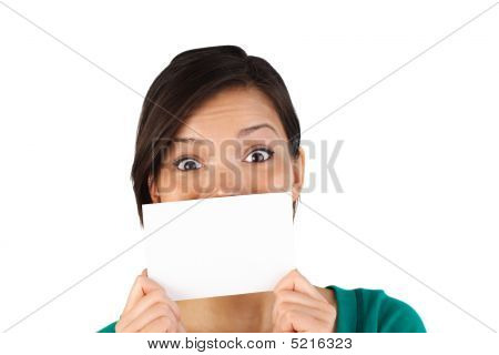 Surprised Woman With Blank Card