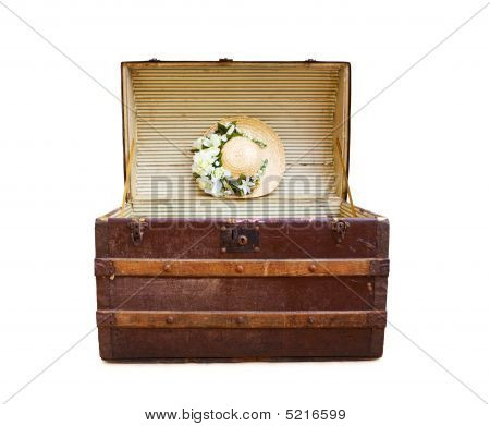 Travel In Style - Antique Steamer Trunk With Summer Straw Hat