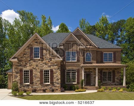 Model Luxury Home Exterior Front View Porch