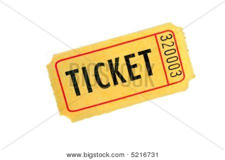 One Ticket On White Background