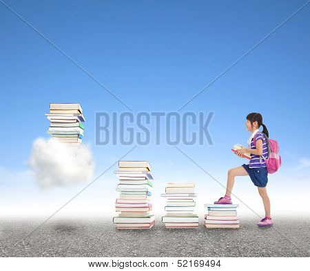 School Girl Learning Knowledge From Books To The Cloud Computing Application Concept