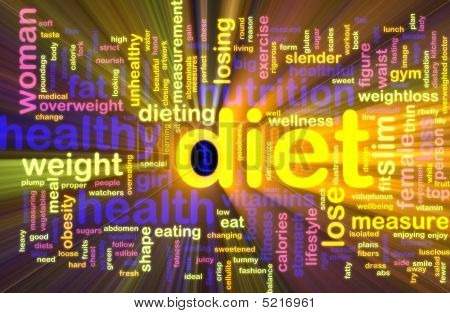 Diet Word Cloud Glowing