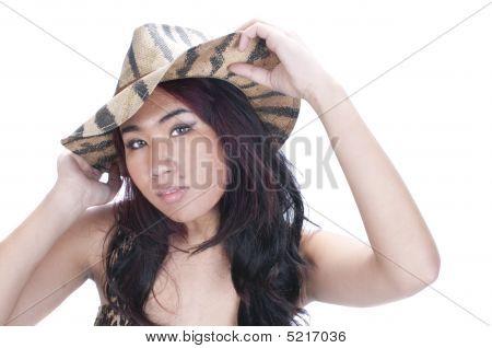 Pretty Asian Gil In Hat