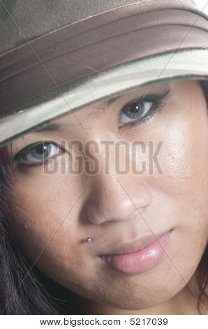 Pretty Asian Girl In Hat