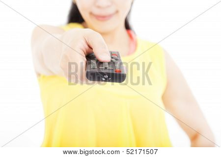 Smiling Woman Holding Remote Control For Tv