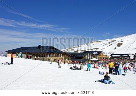 Ski Slopes Of Prodollano Ski Resort In Spain
