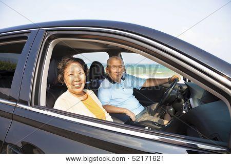 Happy Seniors Couple Enjoying Road Trip