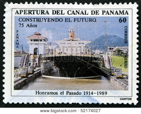Panama - Circa 1989: A Stamp Printed In Panama Dedicated To The Opening Of The Panama Canal