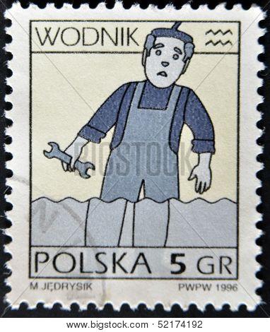 Poland -circa 1996: A Stamp Printed In Poland Shows Zodiac Signs, Aquarius, Circa 1996.