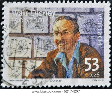 Portugal - Circa 2001: A Stamp Printed In Portugal Shows Image Of Walt Disney, Circa 2001