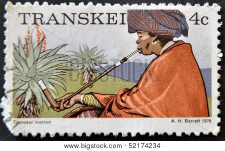 Republic Of South Africa - Circa 1976: A Stamp Printed In Transkei Shows Transkei Matron, Circa 1976