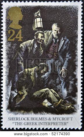A Stamp Shows Sherlock Holmes And Mycroft The Greek Interpreter