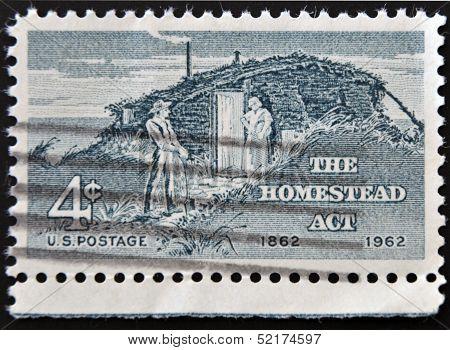Usa - Circa 1962 : A Stamp Printed In The Usa Shows The Homestead, Circa 1962