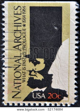 stamp shows image depicting washingtons head inscripted National Archives 1934-1984