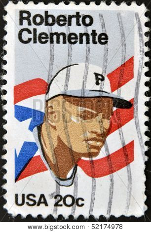 United States Of America - Circa 1984: A Stamp Printed In Usa Shows Roberto Clemente, Circa 1984