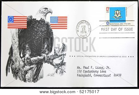 A stamp printed in USA show Shield of Connecticut bicentennial era 1776 - 1976 first day of issue