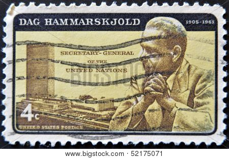 A stamp printed in USA shows portrait Dag Hammarskjold second Secretary-General of the United Nation