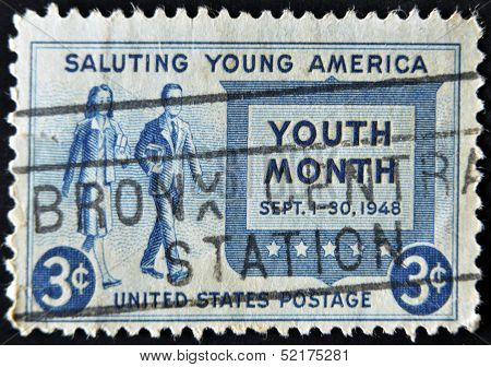 Usa - Circa 1948 : A Stamp Printed In The Usa Shows Saluting Young America, Circa 1948
