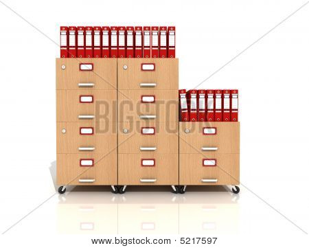 Wooden File Drawer With Red Ring Binders