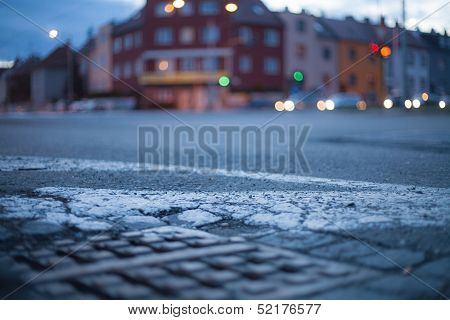 Blurred Background - Night Street With Street Lights, Great For Design